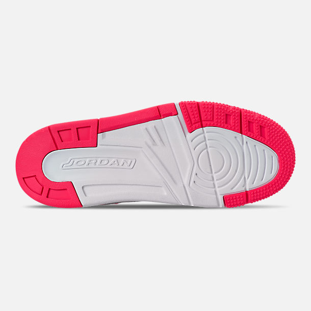 Bottom view of Girls' Little Kids' Jordan Spizike Basketball Shoes in Wolf Grey/Racer Pink/White