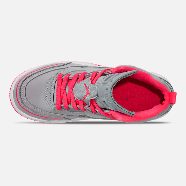 Top view of Girls' Little Kids' Jordan Spizike Basketball Shoes in Wolf Grey/Racer Pink/White