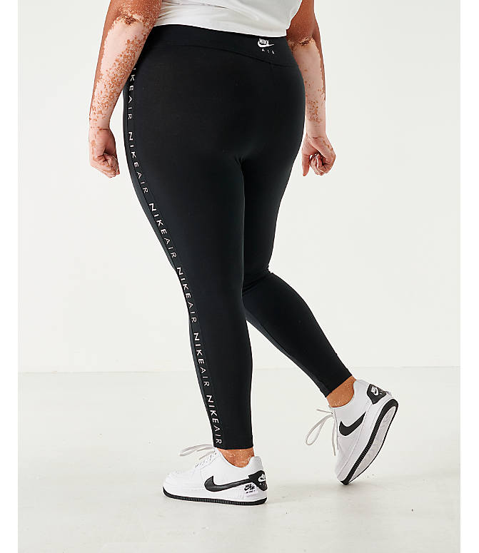 Back Left view of Women's Nike Sportswear Air Tape Leggings - Plus Size in Black