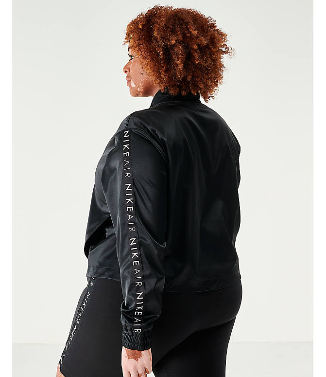 Back Left view of Women's Nike Air Satin Track Jacket - Plus Size in Black
