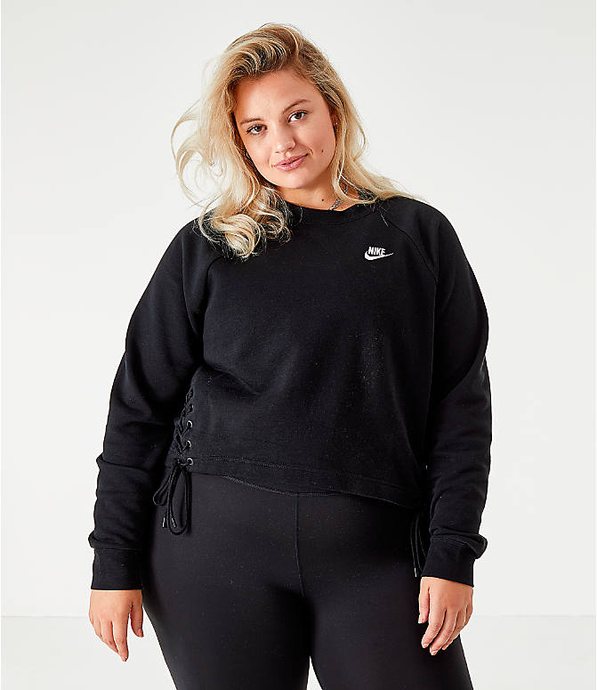 Back Left view of Women's Nike Sportswear Essential Tie Side Fleece Crew Sweatshirt - Plus Size in Black