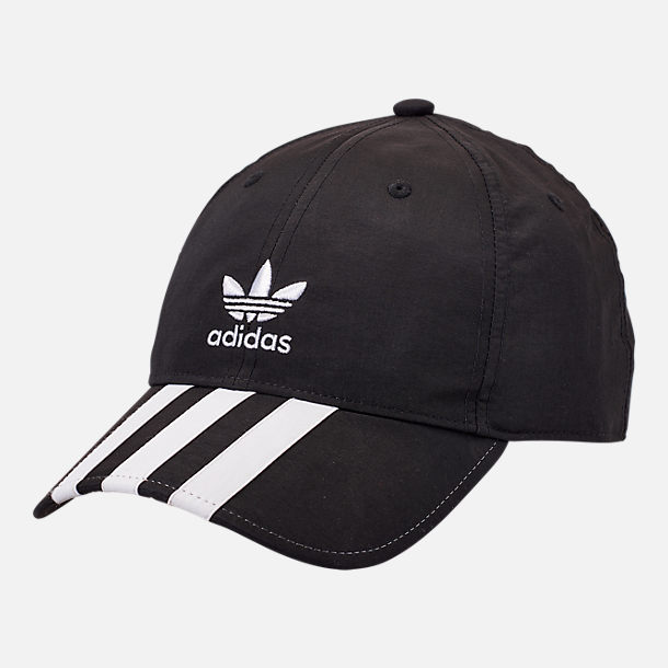 Front view of adidas Originals Relaxed Applique Adjustable Back Hat in Black/White