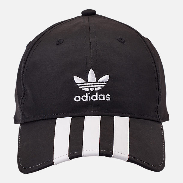 Back view of adidas Originals Relaxed Applique Adjustable Back Hat in Black/White