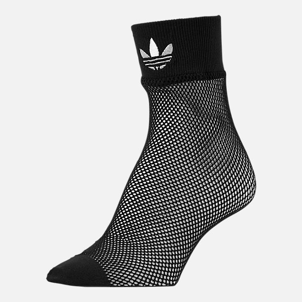 Front view of Women's adidas Originals Fishnet Ankle Socks in Black