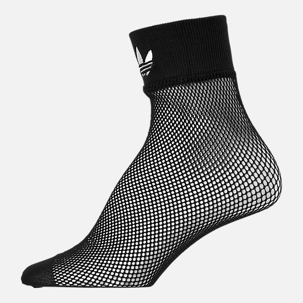 Back view of Women's adidas Originals Fishnet Ankle Socks in Black