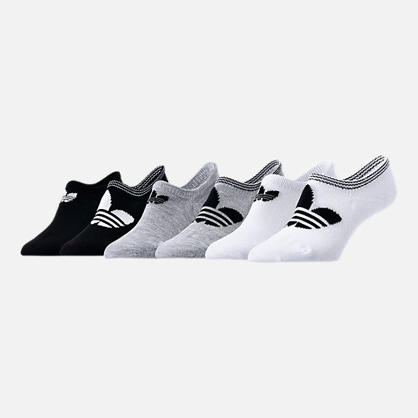 Front view of Women's adidas Originals 6-Pack Footie Socks in Black/White/Grey