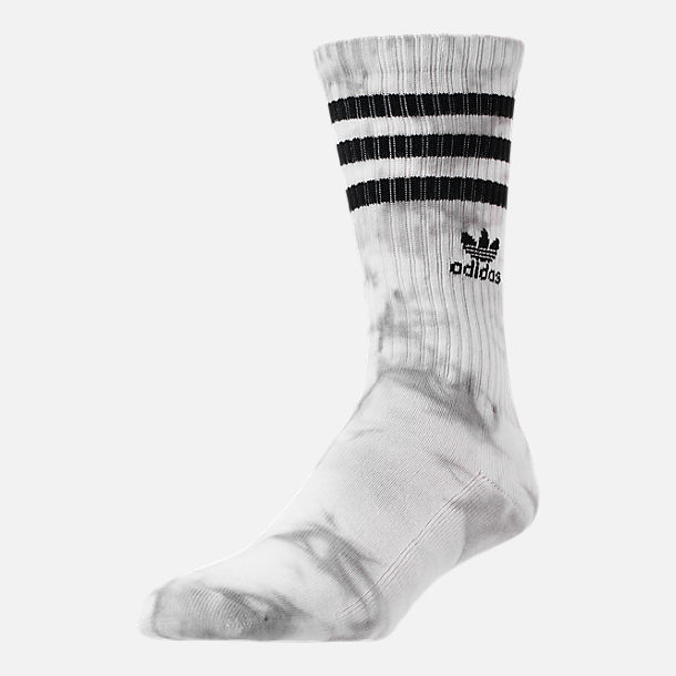 Front view of Men's adidias Originals Tie Dye Roller Crew Socks in White/Black