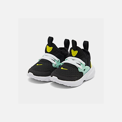 Three Quarter view of Girls' Toddler Nike React Presto Running Shoes in Black/Psychic Pink/Teal Tint