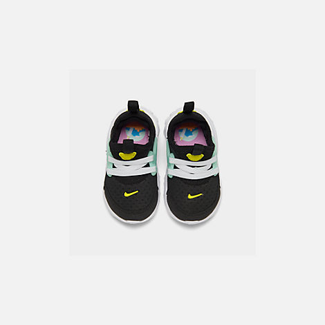 Back view of Girls' Toddler Nike React Presto Running Shoes in Black/Psychic Pink/Teal Tint