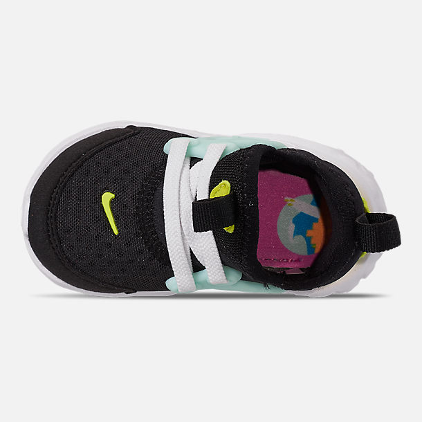 Top view of Girls' Toddler Nike React Presto Running Shoes in Black/Psychic Pink/Teal Tint