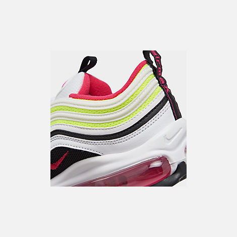 Front view of Big Kids' Nike Air Max 97 Casual Shoes in White/Rush Pink/Black/Volt