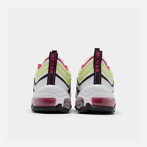 Left view of Big Kids' Nike Air Max 97 Casual Shoes in White/Rush Pink/Black/Volt