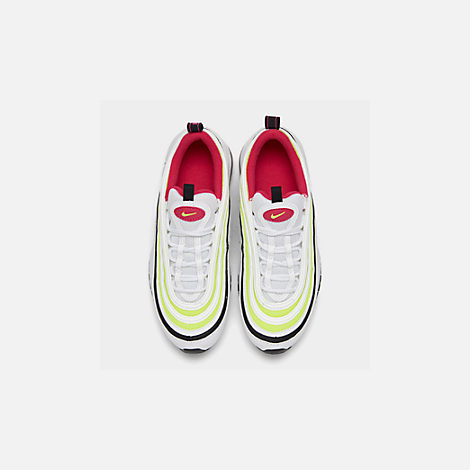 Back view of Big Kids' Nike Air Max 97 Casual Shoes in White/Rush Pink/Black/Volt
