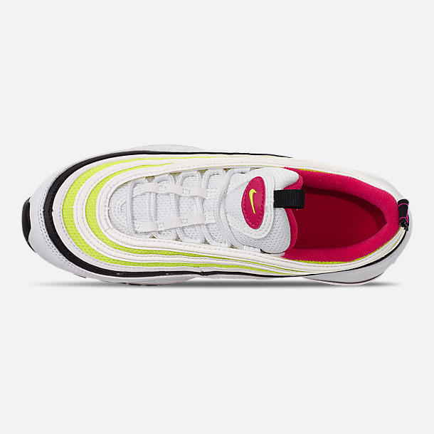 Top view of Big Kids' Nike Air Max 97 Casual Shoes in White/Rush Pink/Black/Volt