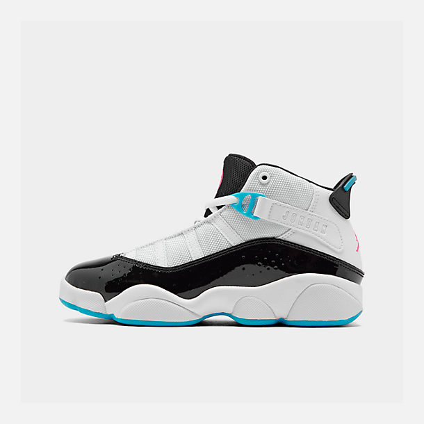 780b1480a59 ... right view of boys little kids air jordan 6 rings basketball shoes in  white