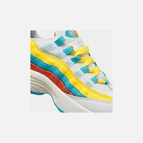 Front view of Boys' Little Kids' Nike Air Max 95 Casual Shoes in Blue Fury/Summit White/Optic Yellow