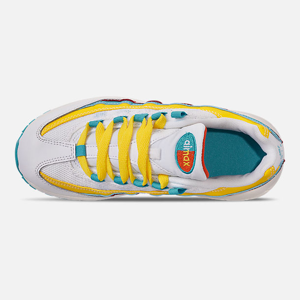 Top view of Boys' Little Kids' Nike Air Max 95 Casual Shoes in Blue Fury/Summit White/Optic Yellow