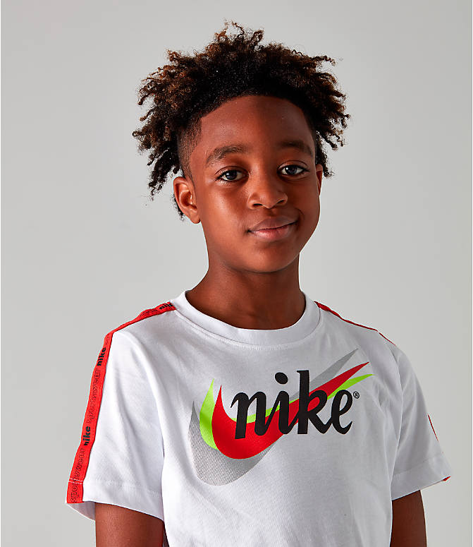 Detail 1 view of Boys' Nike Sportswear Retro Future Tape T-Shirt in White
