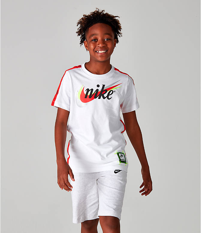 Front view of Boys' Nike Sportswear Retro Future Tape T-Shirt in White