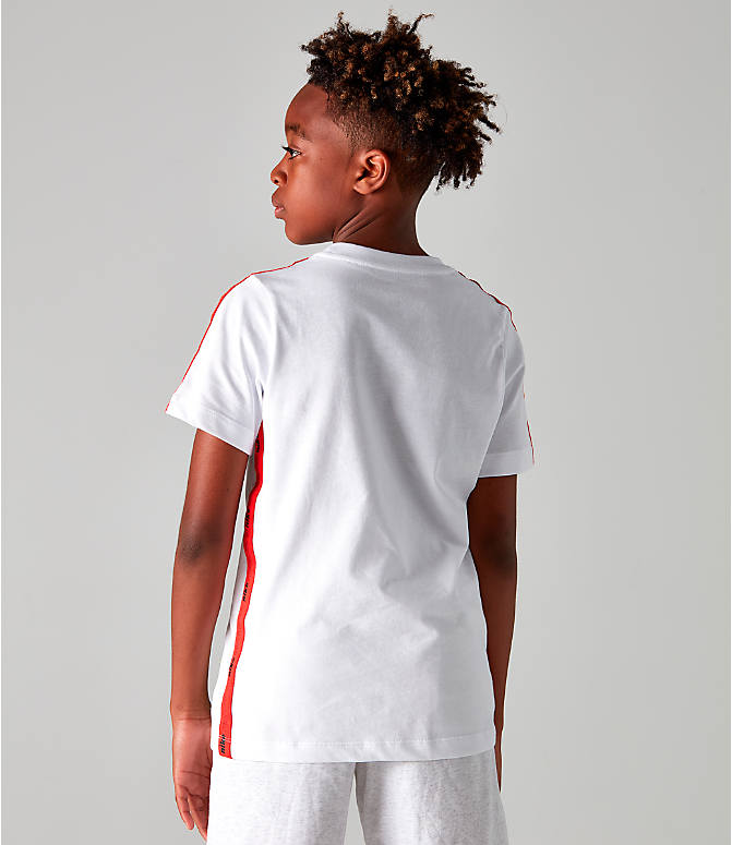 Back Right view of Boys' Nike Sportswear Retro Future Tape T-Shirt in White