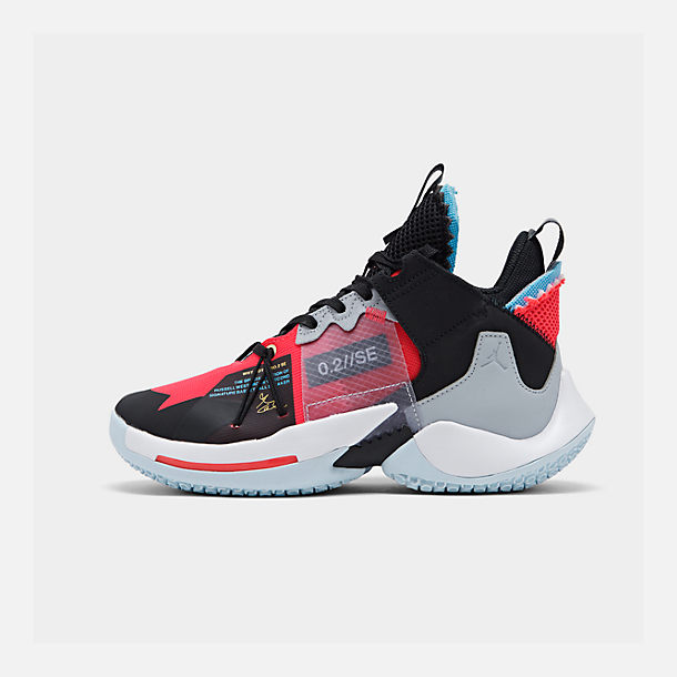Right view of Boys' Big Kids' Air Jordan Why Not Zer0.2 SE Basketball Shoes in Red Orbit/Red Orbit/Black/White