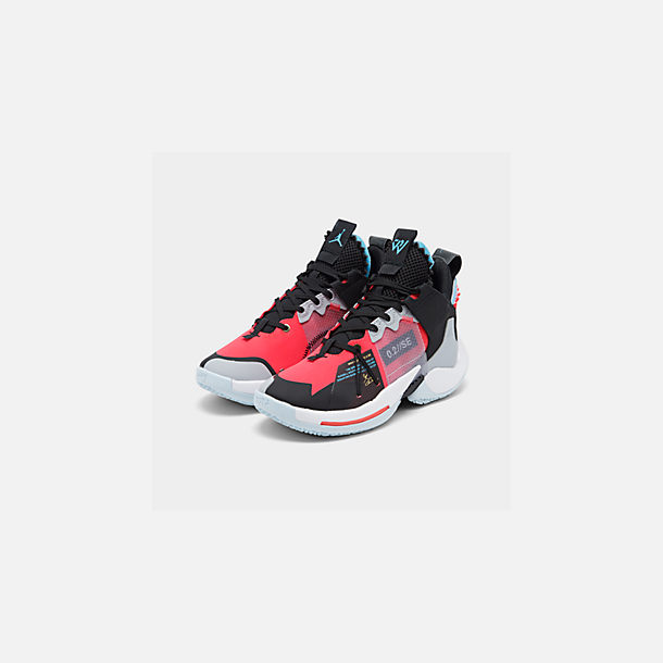 Three Quarter view of Boys' Big Kids' Air Jordan Why Not Zer0.2 SE Basketball Shoes in Red Orbit/Red Orbit/Black/White