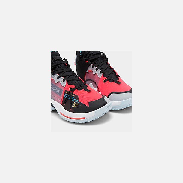 Front view of Boys' Big Kids' Air Jordan Why Not Zer0.2 SE Basketball Shoes in Red Orbit/Red Orbit/Black/White