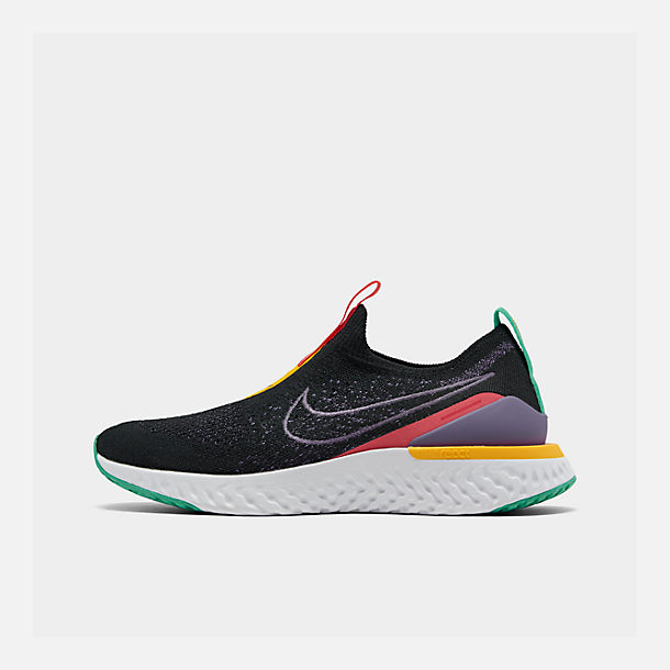 Right view of Women's Nike Epic Phantom React Flyknit Running Shoes in Black/Pyschic Purple/Kinetic Green/University Gold/White
