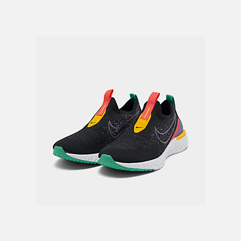 Three Quarter view of Women's Nike Epic Phantom React Flyknit Running Shoes in Black/Pyschic Purple/Kinetic Green/University Gold/White