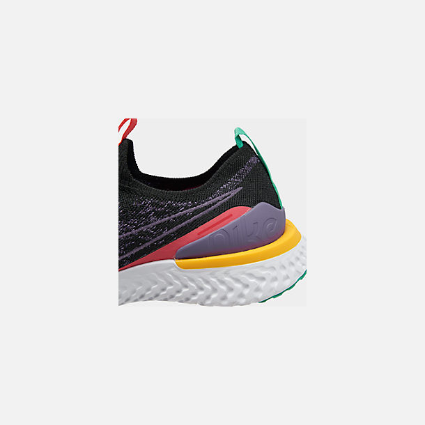 Front view of Women's Nike Epic Phantom React Flyknit Running Shoes in Black/Pyschic Purple/Kinetic Green/University Gold/White