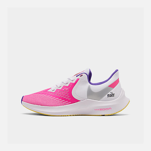 Right view of Women's Nike Air Zoom Winflo 6 Running Shoes in White/Laser Fuchsia/Psychic Purple