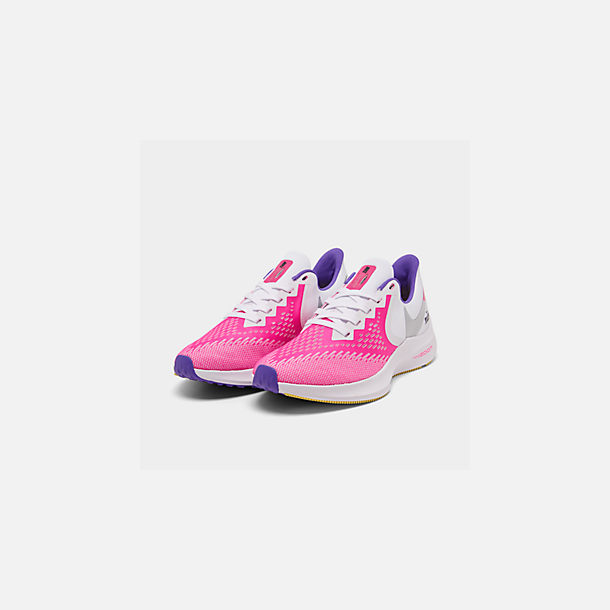 Three Quarter view of Women's Nike Air Zoom Winflo 6 Running Shoes in White/Laser Fuchsia/Psychic Purple