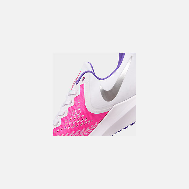 Front view of Women's Nike Air Zoom Winflo 6 Running Shoes in White/Laser Fuchsia/Psychic Purple