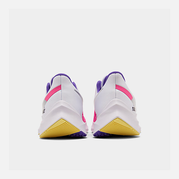 Left view of Women's Nike Air Zoom Winflo 6 Running Shoes in White/Laser Fuchsia/Psychic Purple