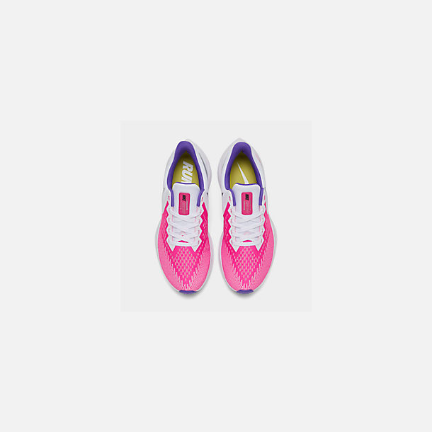 Back view of Women's Nike Air Zoom Winflo 6 Running Shoes in White/Laser Fuchsia/Psychic Purple