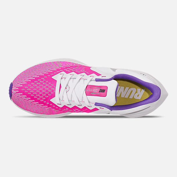 Top view of Women's Nike Air Zoom Winflo 6 Running Shoes in White/Laser Fuchsia/Psychic Purple