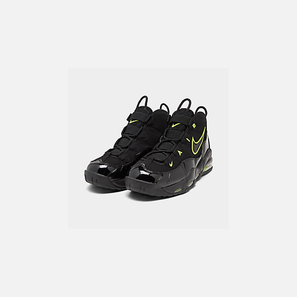 Three Quarter view of Men's Nike Air Max Uptempo '95 Basketball Shoes in Black/Volt