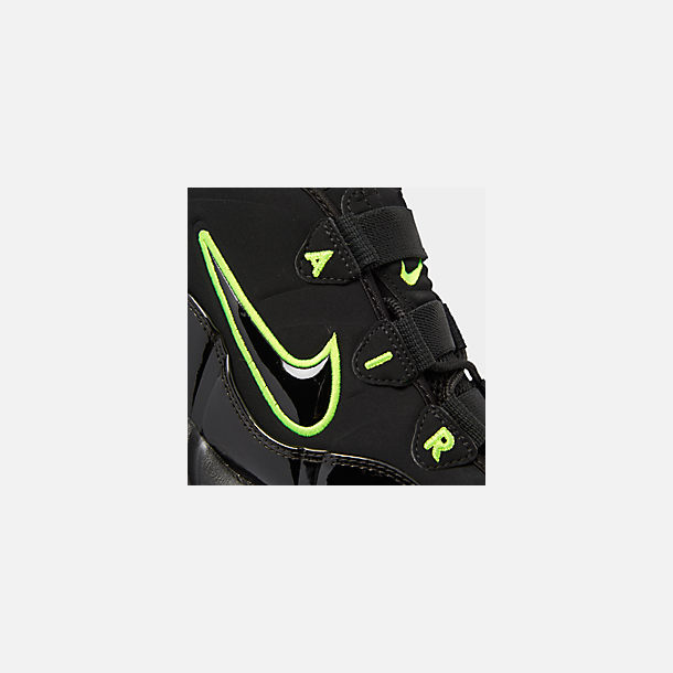 Front view of Men's Nike Air Max Uptempo '95 Basketball Shoes in Black/Volt
