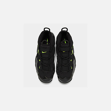 Back view of Men's Nike Air Max Uptempo '95 Basketball Shoes in Black/Volt