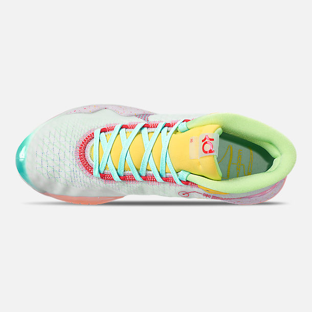 Top view of Men's Nike Zoom KD12 Basketball Shoes in Teal Tint/Red Orbit/Photo Blue