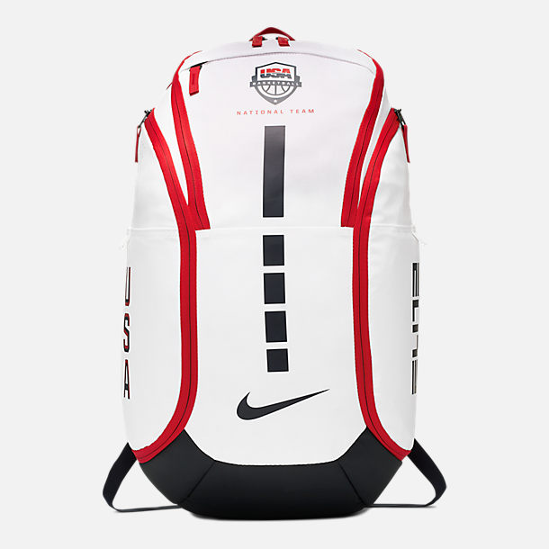 Front view of Nike Hoops Elite Team USA Basketball Backpack in White/Obsidian/Red