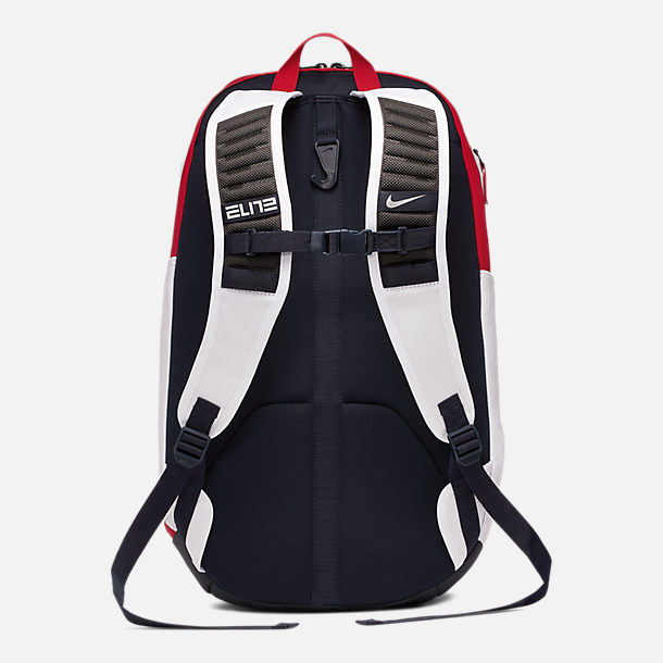 Back view of Nike Hoops Elite Team USA Basketball Backpack in White/Obsidian/Red