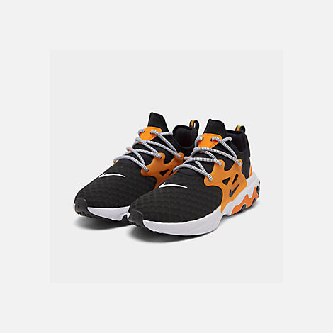 Three Quarter view of Men's Nike React Presto Running Shoes in Black/White/Bright Ceramic