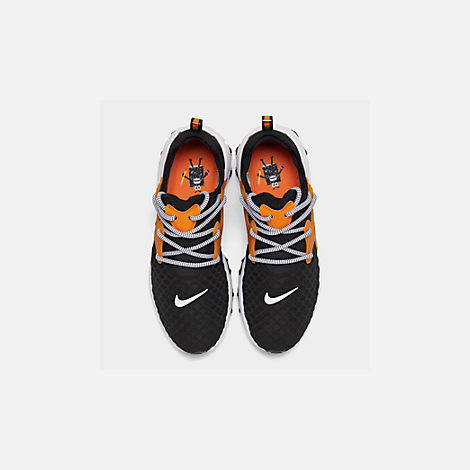 Back view of Men's Nike React Presto Running Shoes in Black/White/Bright Ceramic