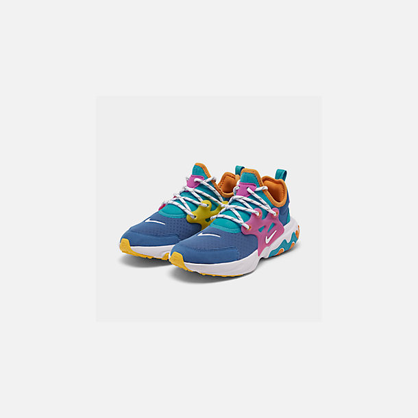 Three Quarter view of Boys' Big Kids' Nike React Presto Running Shoes in Mountain Blue/White/Light Current Blue