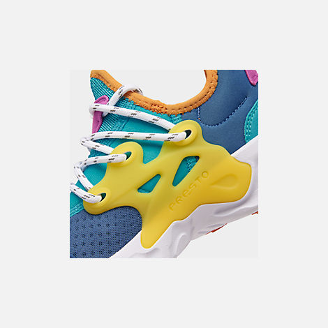 Front view of Boys' Big Kids' Nike React Presto Running Shoes in Mountain Blue/White/Light Current Blue