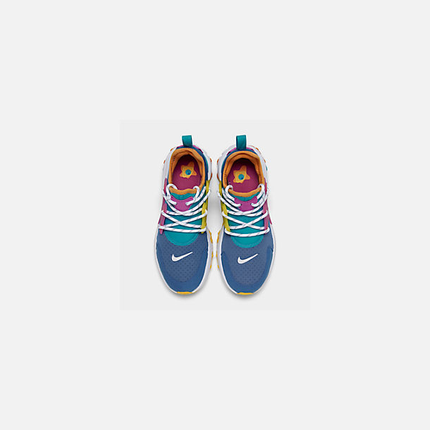 Back view of Boys' Big Kids' Nike React Presto Running Shoes in Mountain Blue/White/Light Current Blue
