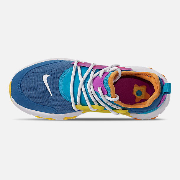 Top view of Boys' Big Kids' Nike React Presto Running Shoes in Mountain Blue/White/Light Current Blue