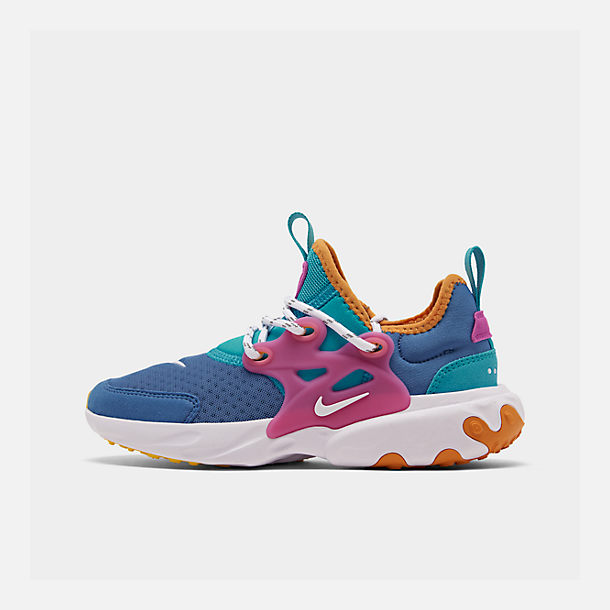 Right view of Little Kids' Nike React Presto Running Shoes in Mountain Blue/White/Light Current Blue