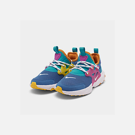 Three Quarter view of Little Kids' Nike React Presto Running Shoes in Mountain Blue/White/Light Current Blue